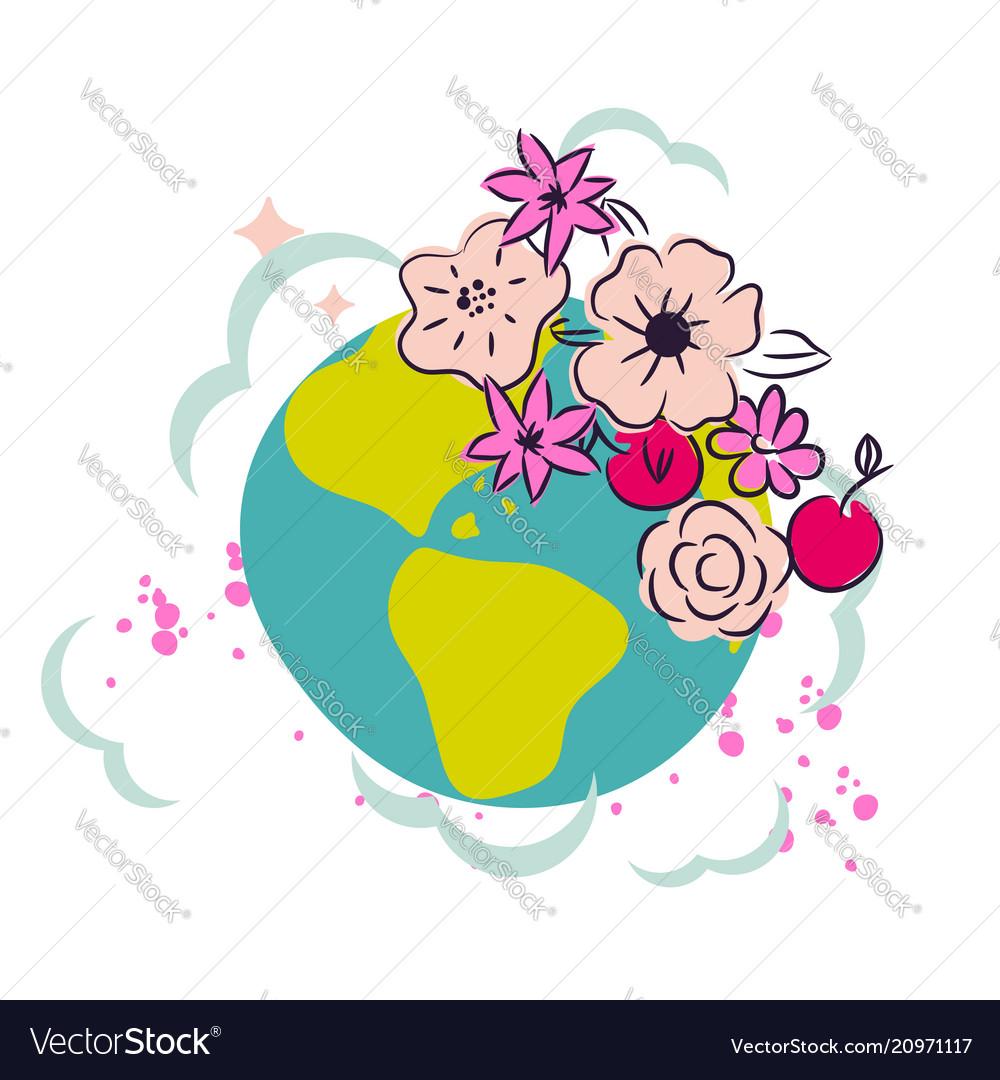 Cartoon earth with flower crown decor clipart
