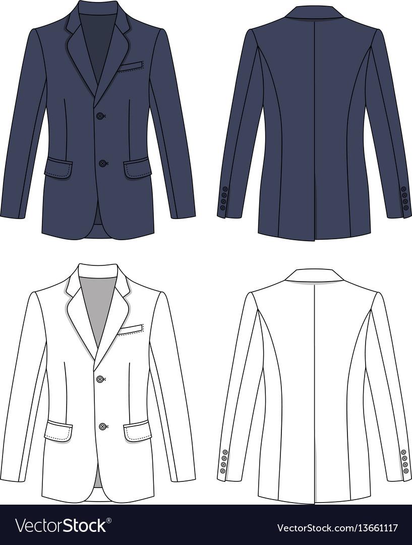 Long short sleeved mans buttoned jacket vector image