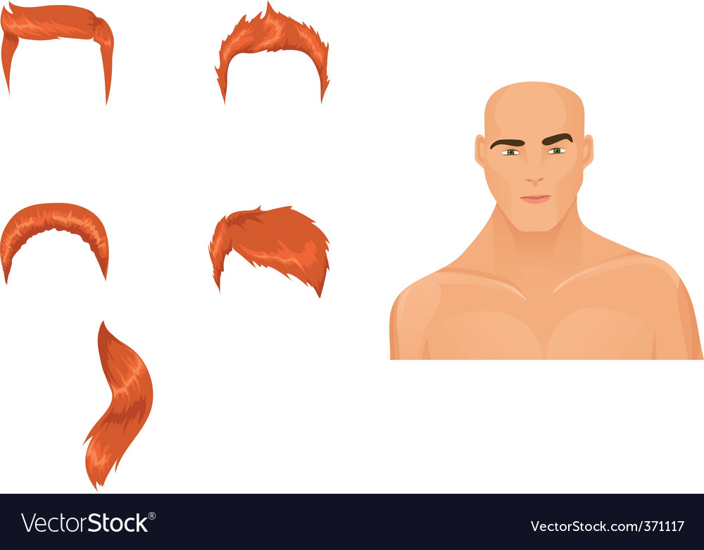 Male hairstyles redhead vector image