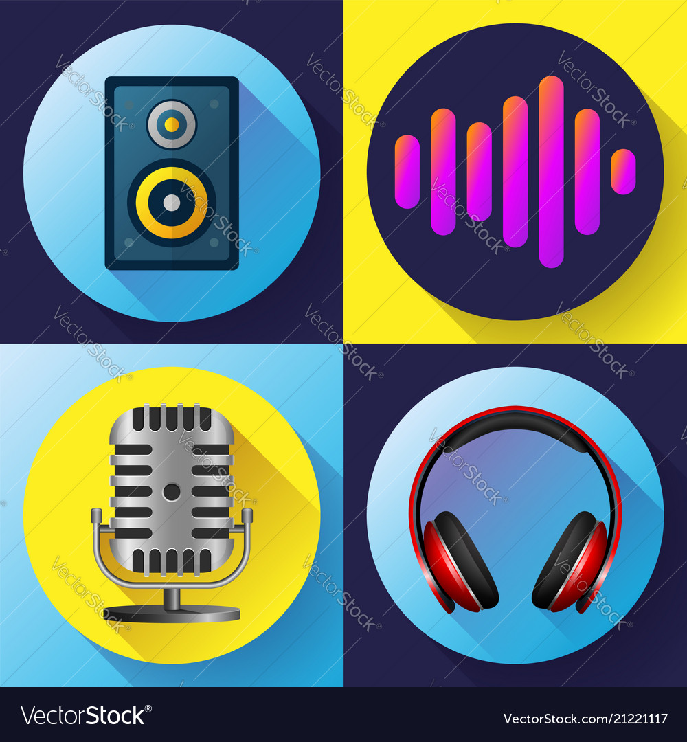 Musical icons set flat style - old microphone