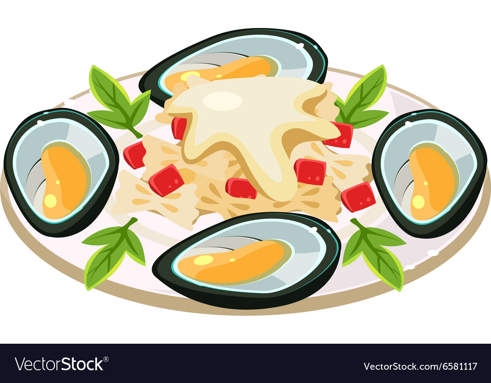 Mussels with Noodels on a Dish vector image