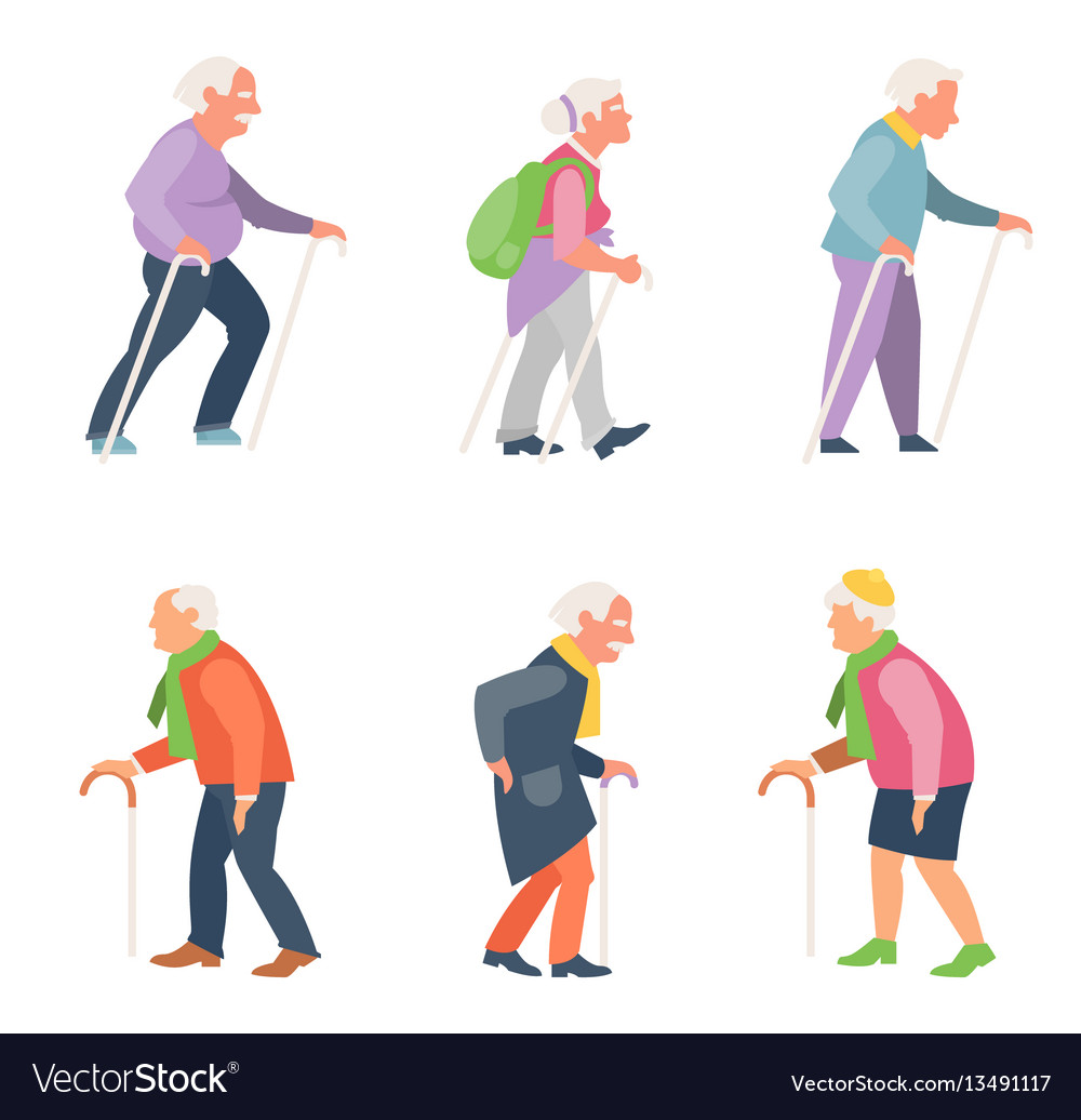 Image of: Image Vectorstock Nordic Walking Old People Travelers With Canes Vector Image