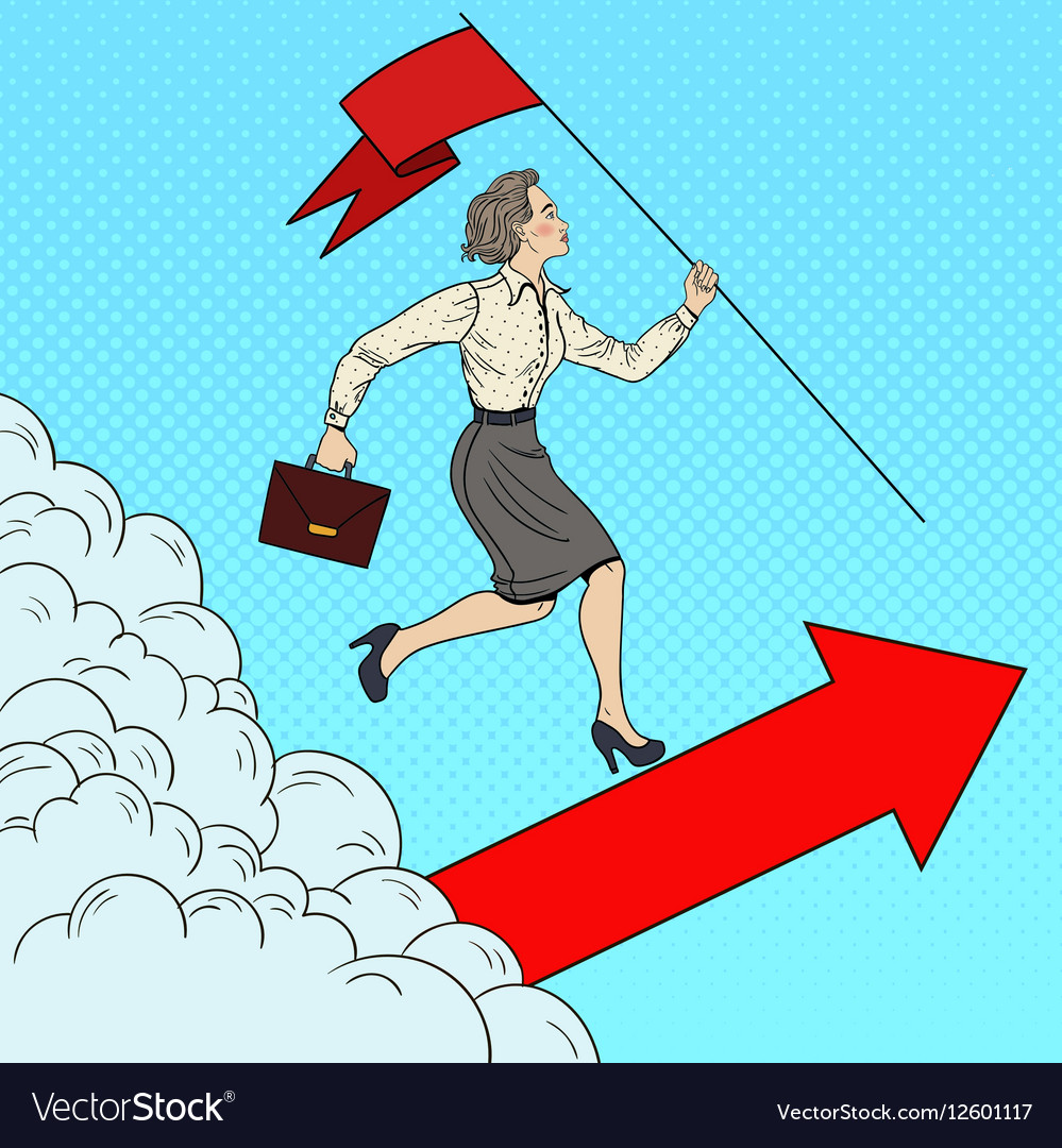 Pop Art Business Woman with Flag Running to Top