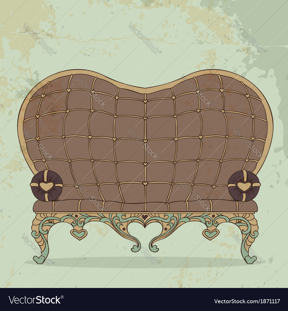 Retro Brown Leather Sofa Heart Shaped Vector Image