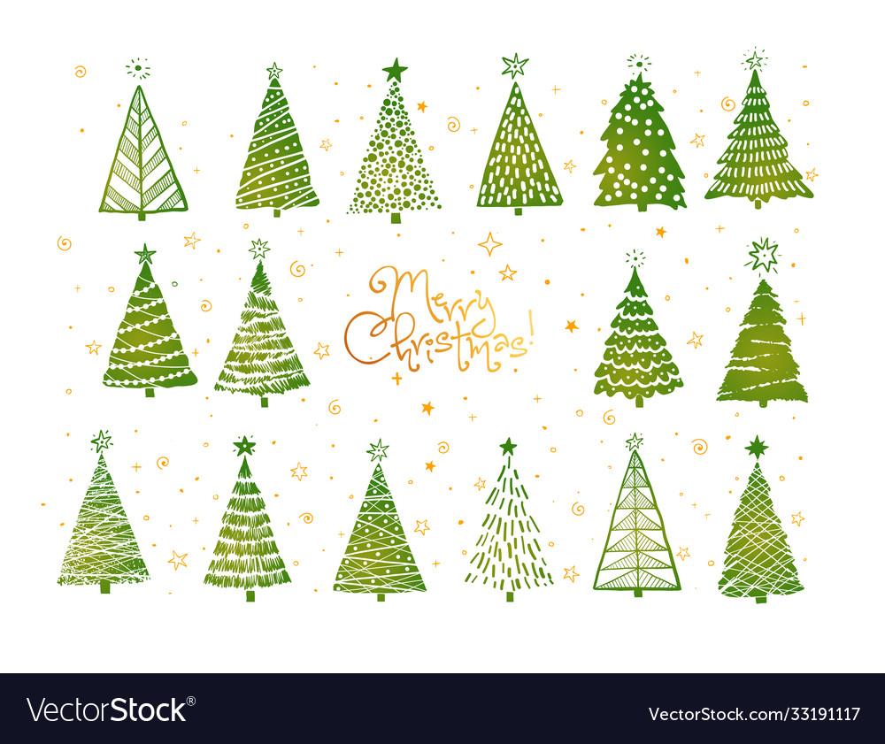 Set green christmas tree doodles on white