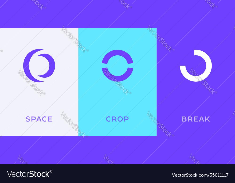 Set letter o or number 0 minimal logo icon