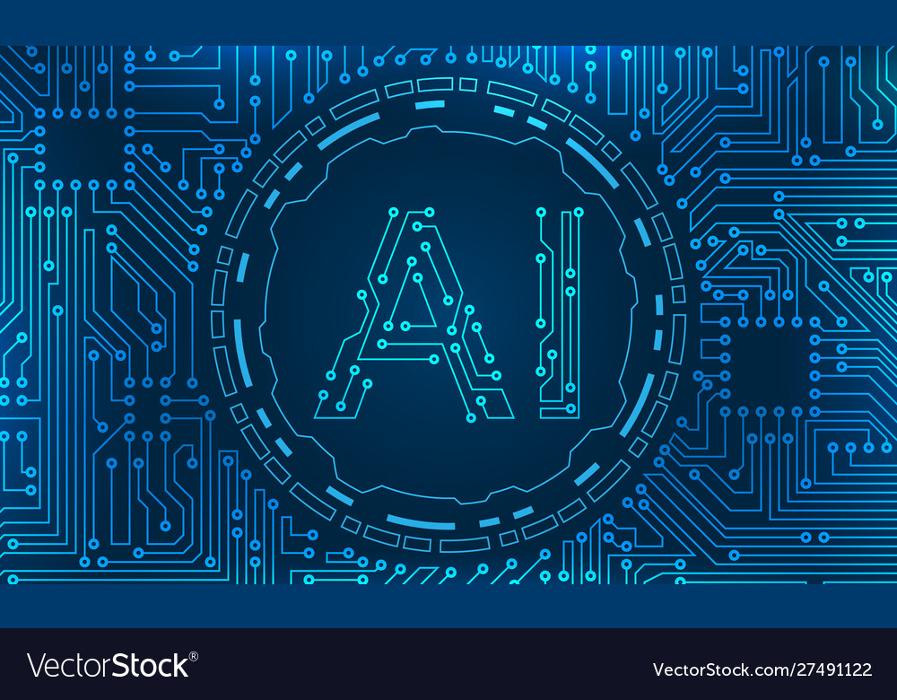 Ai artificial intelligence circuit background