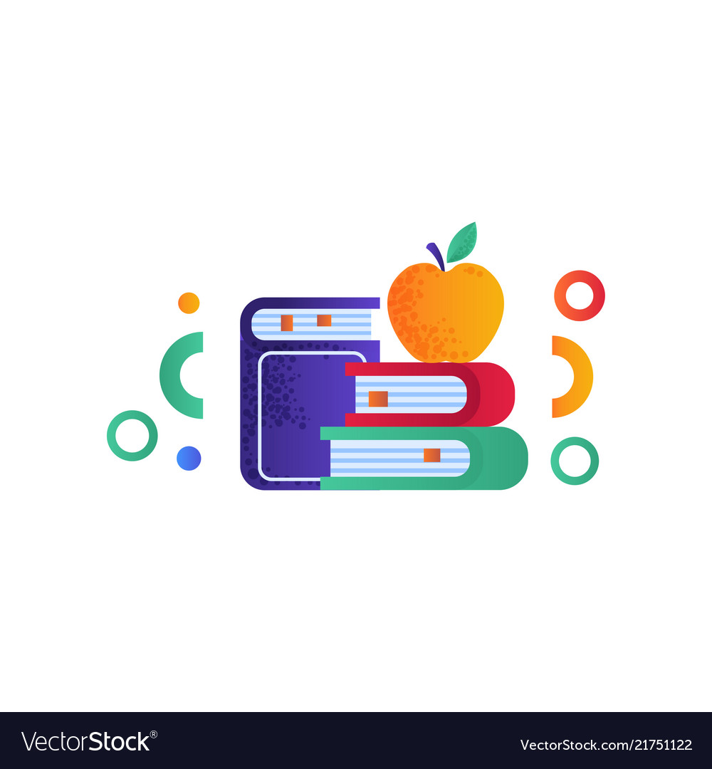 Apple on a pile of books education concept