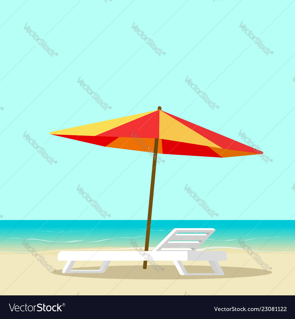 Beach lounge with empty chair near sea and sun