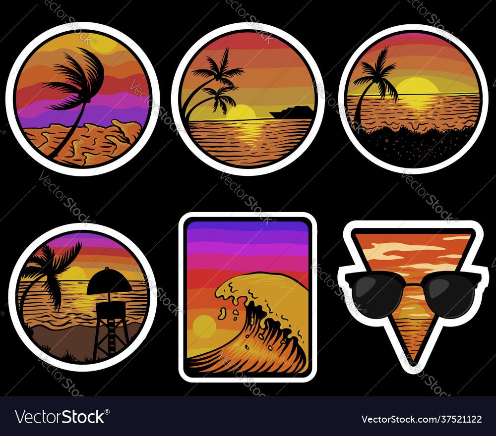 Beach sunset retro stickers