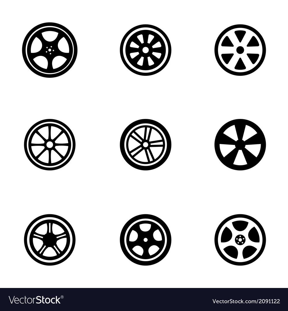Black wheel disks icons set vector image