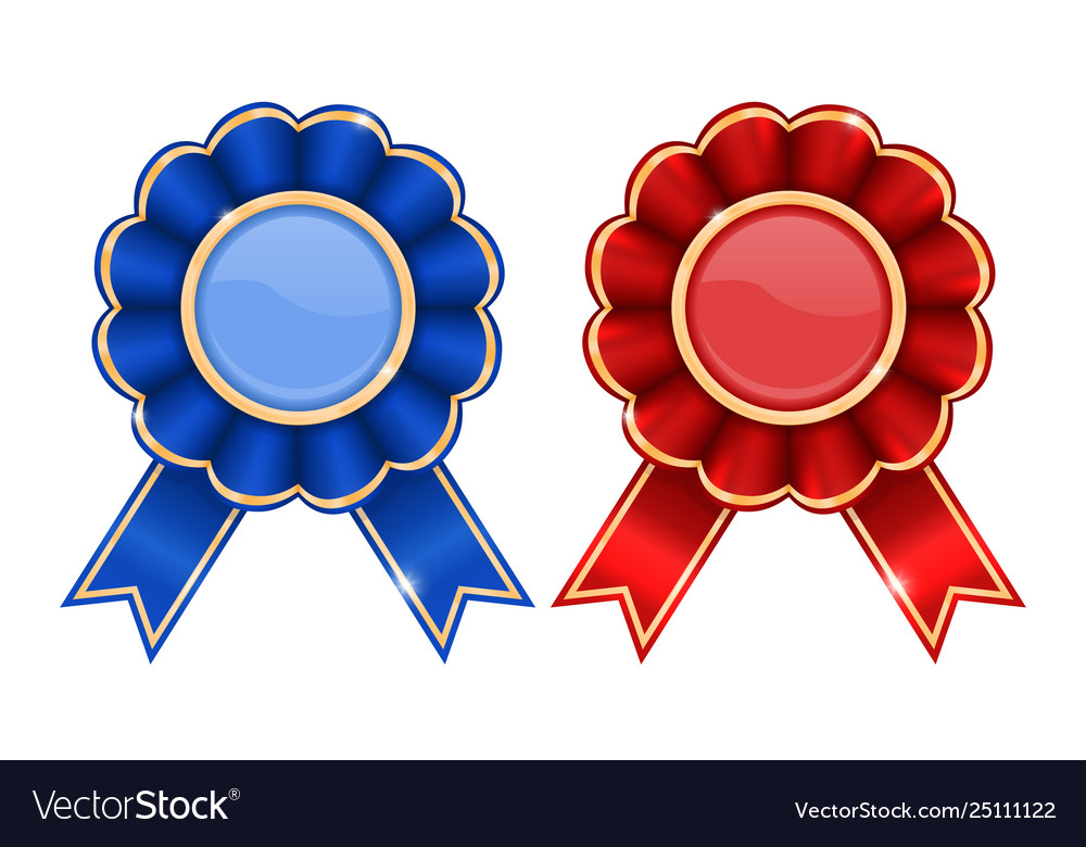 Blue and red award badges