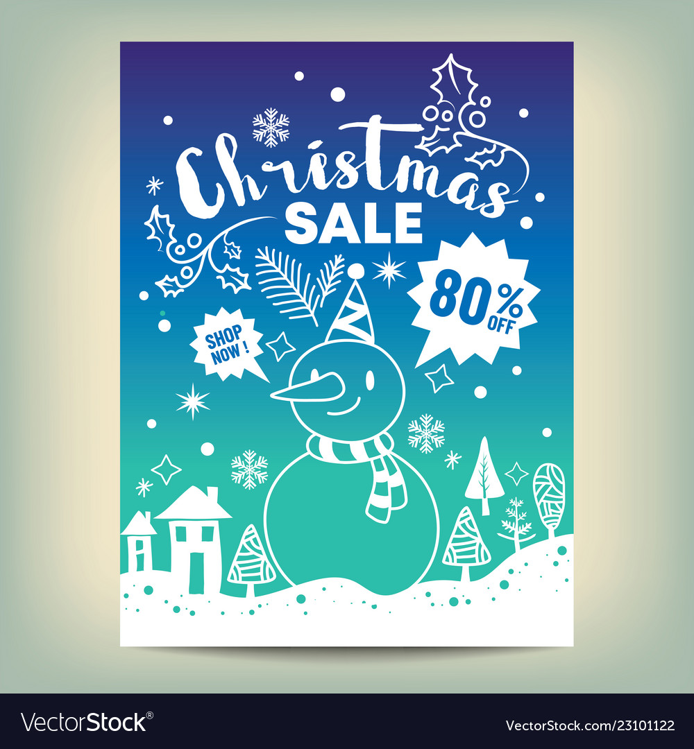 Christmas sale poster with white hand drawn