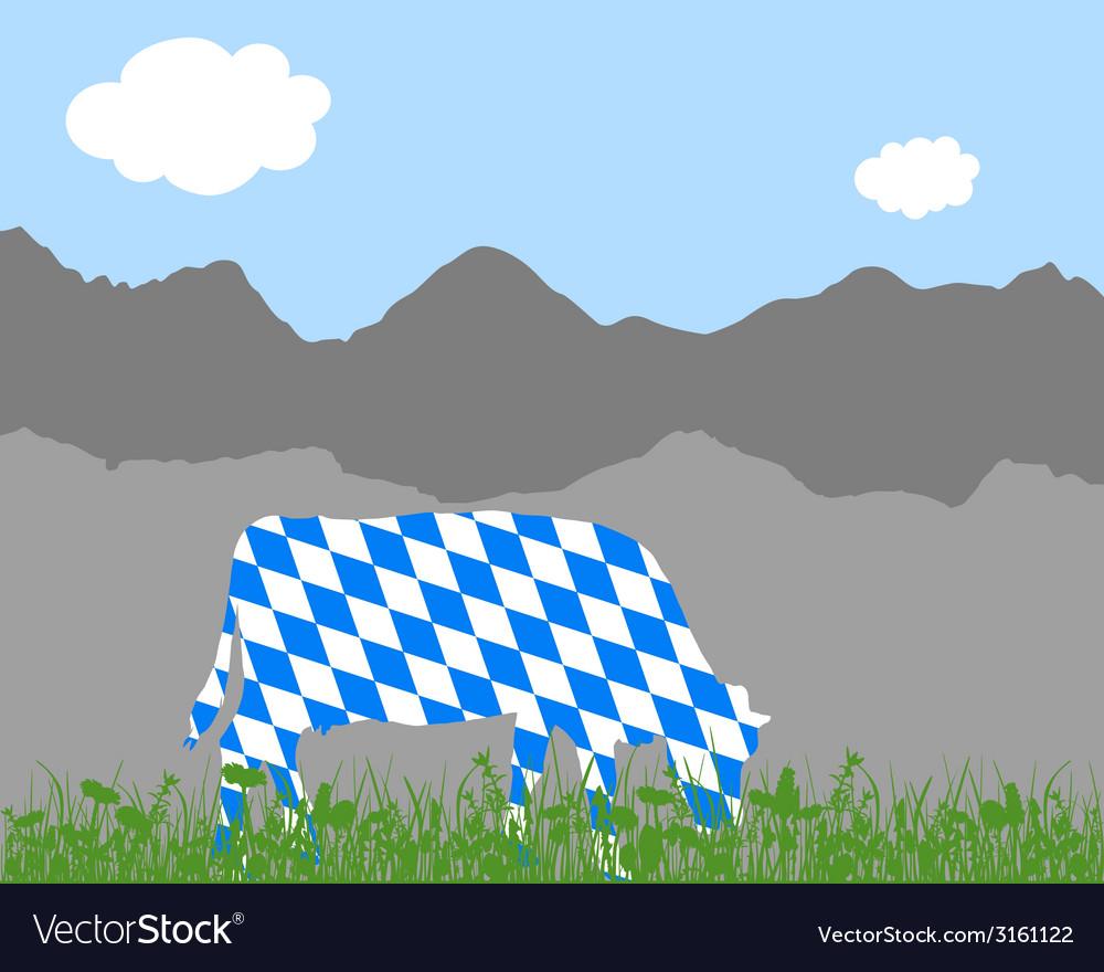 Cow alp and bavarian flag