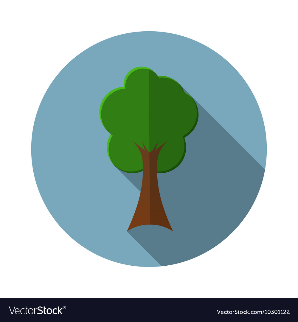 Flat design modern of tree icon with long shadow
