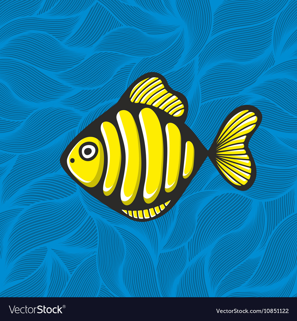 Golden fish on the waves background