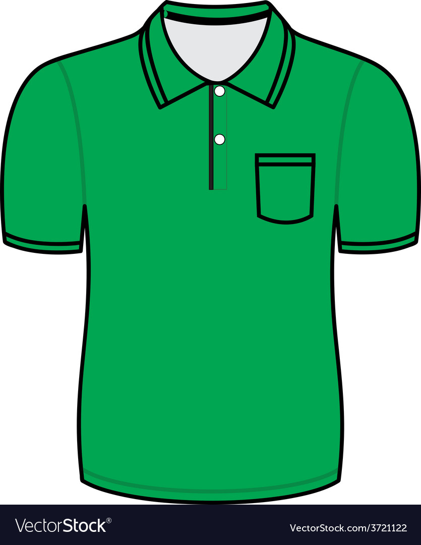 Green Polo Shirt Outline Royalty Free Vector Image