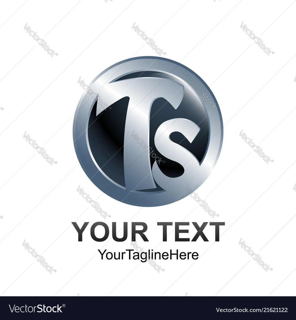 Initial letter ts logo template colored silver