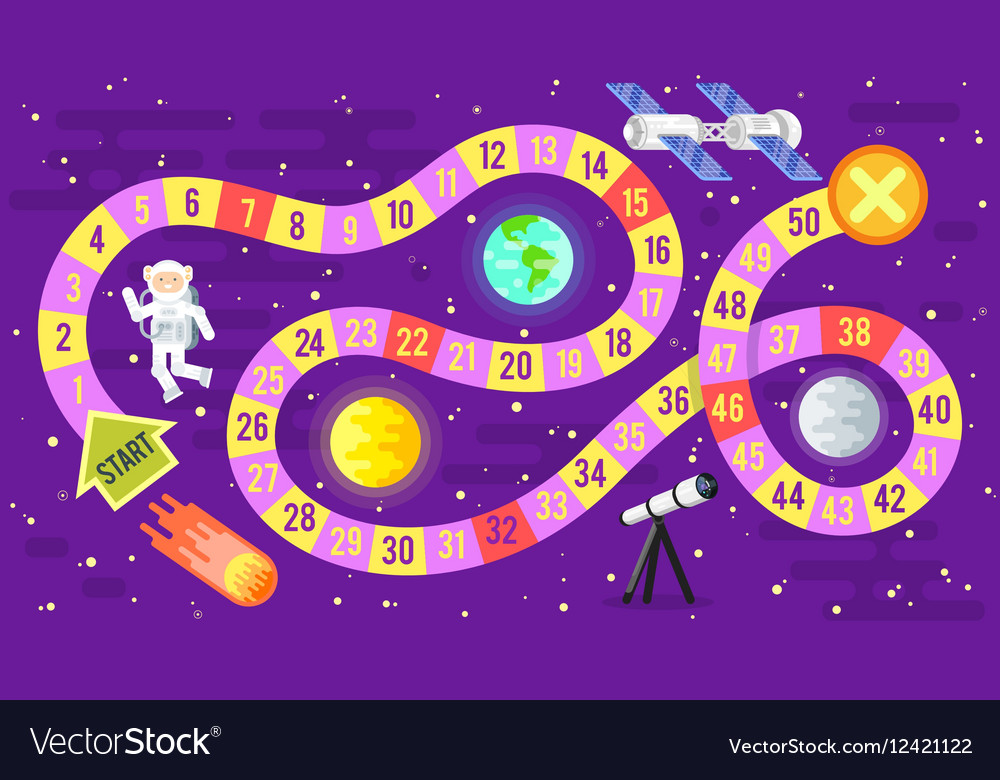 Kids Science And Space Board Game Royalty Free Vector Image
