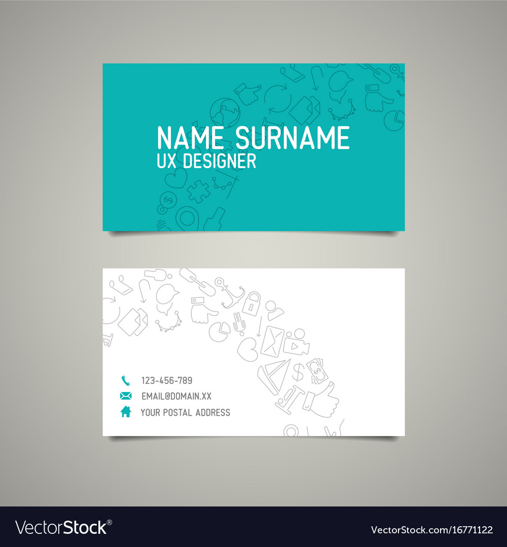 Modern simple business card template for ux vector image on VectorStock