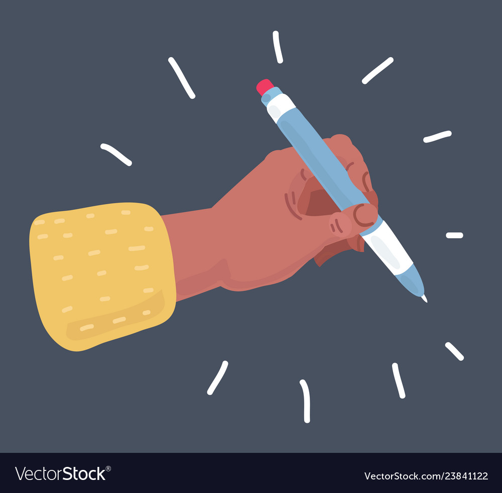 Pencil in hand isolated on dark background