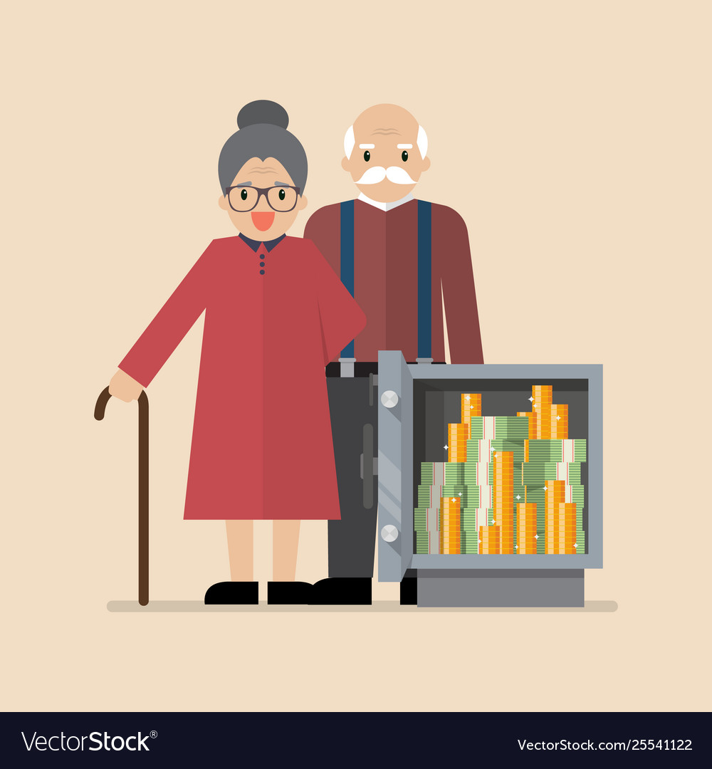 Senior man and woman with safe full money