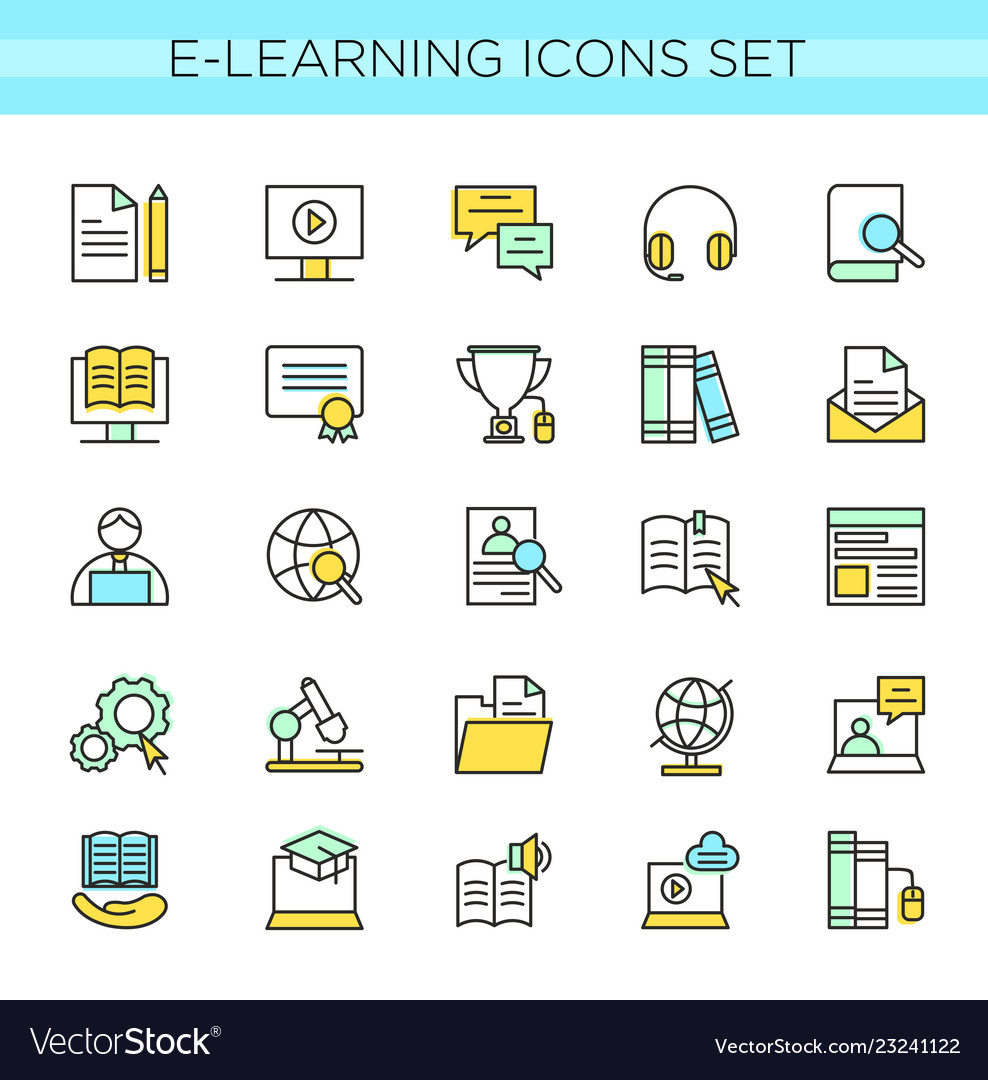 Set of e-learning icons online