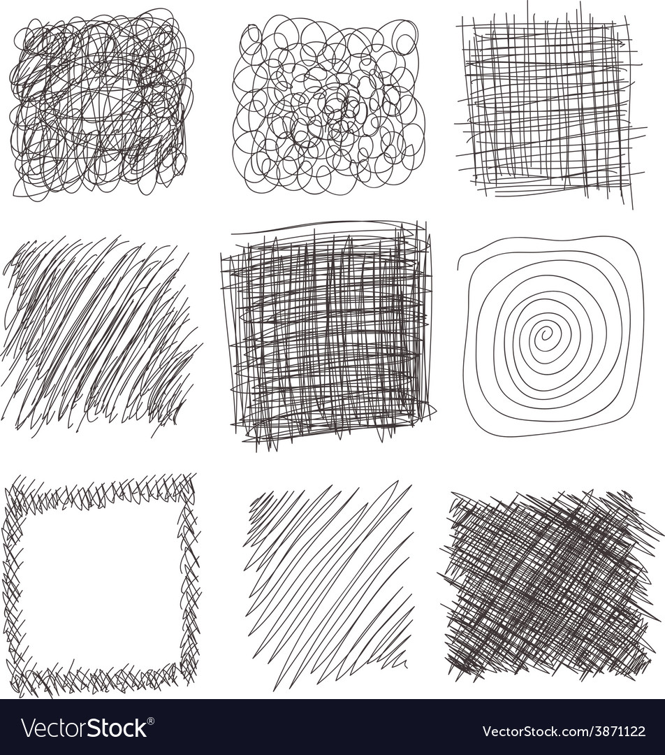 set of hand drawn lines textures scribbles of pen vector image
