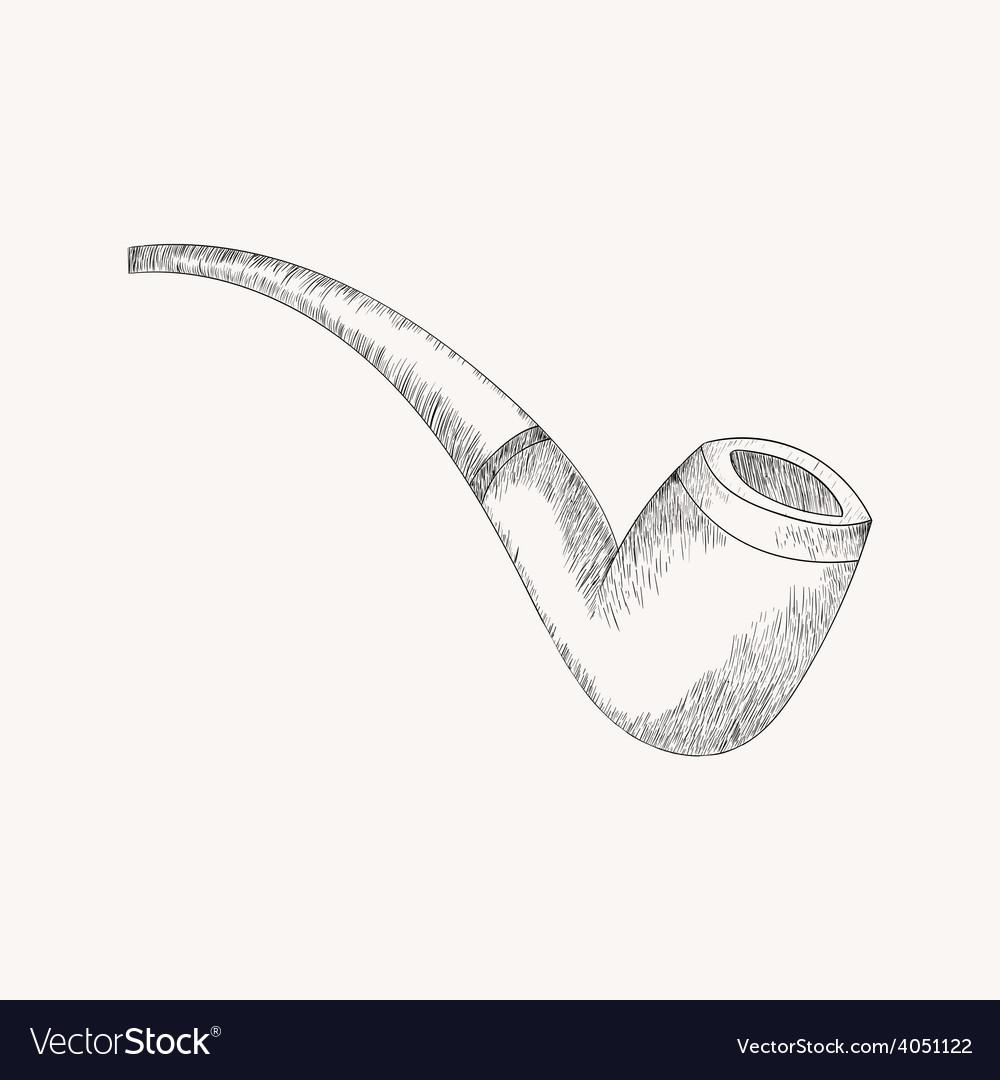 Sketch tobacco pipe Hand drawn doodle vector image