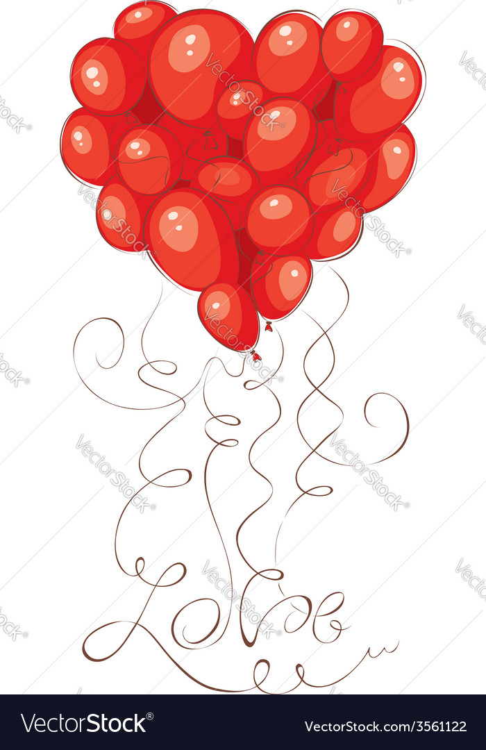 Valentine Card Heart Made Of Balloons Royalty Free Vector