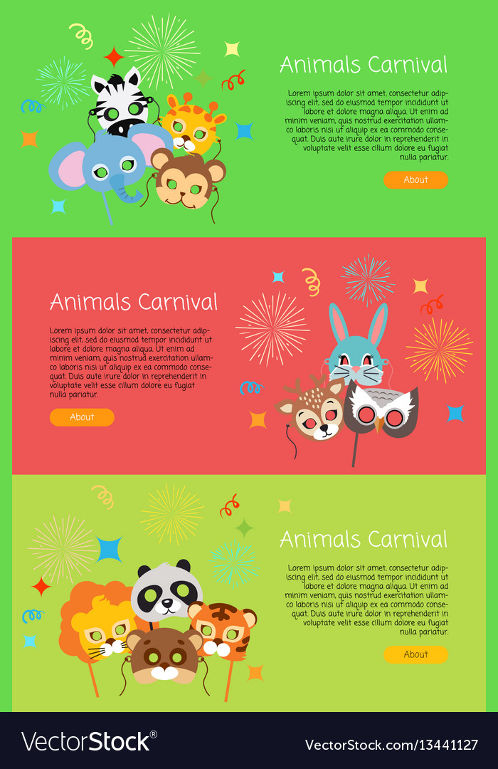 Animals carnival collection face masks