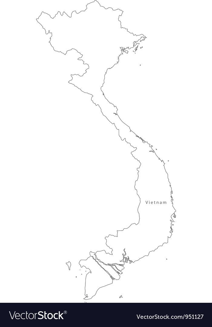 Black White Vietnam Outline Map Royalty Free Vector Image