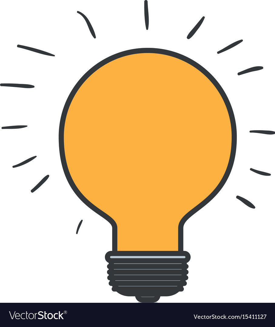 Colorful silhouette of light bulb idea icon with