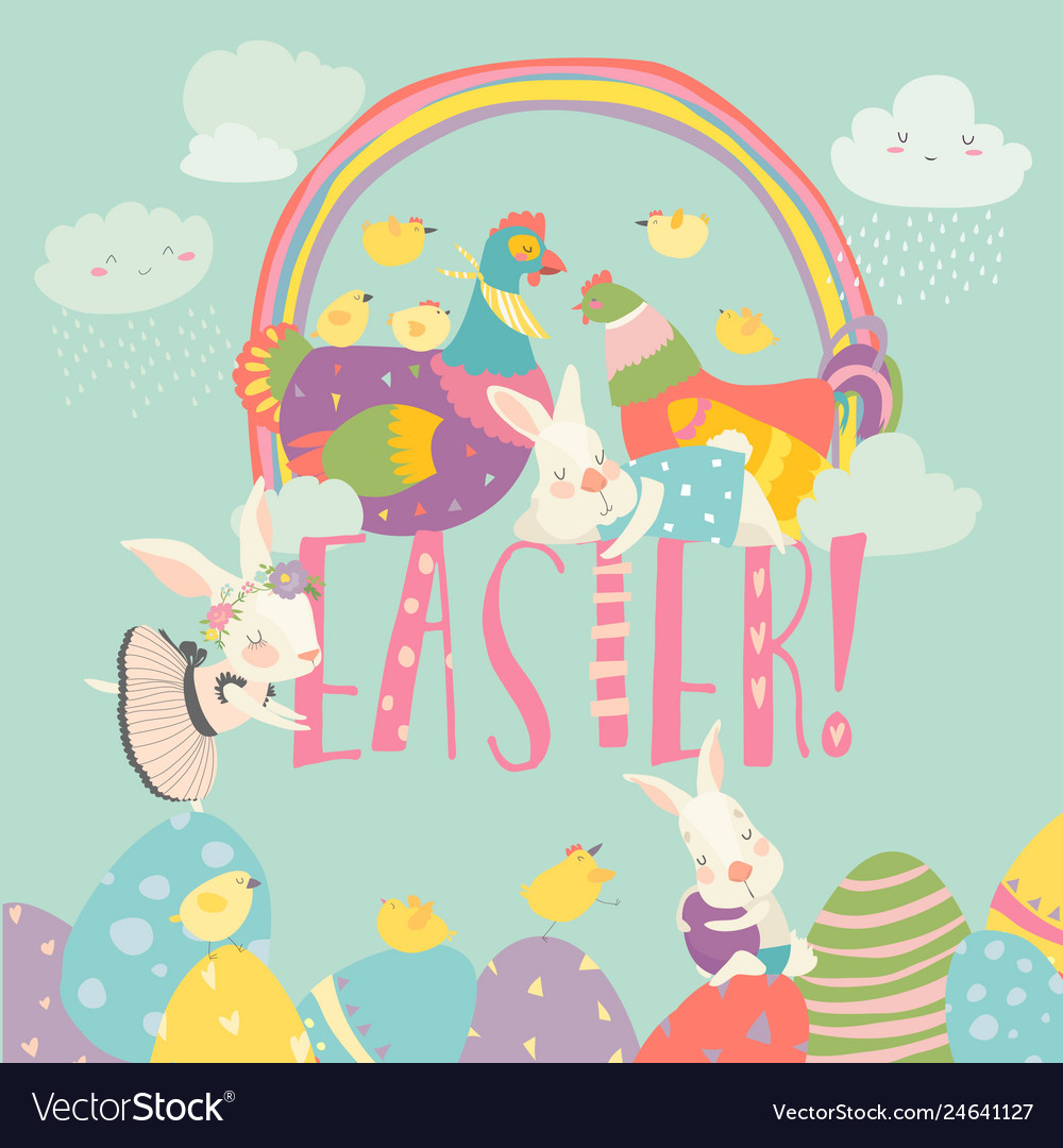 Cute chick and bunny with easter eggs