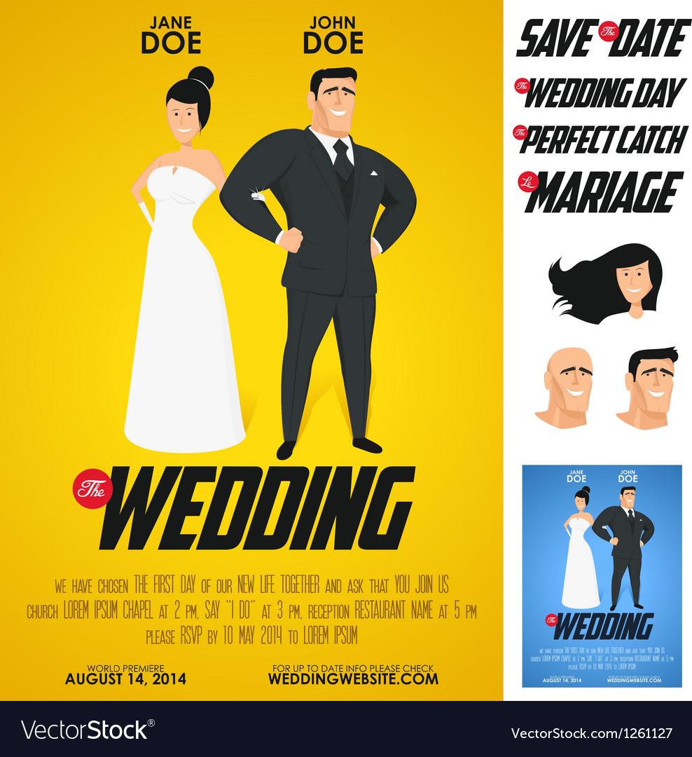 Funny glossy movie poster wedding invitation vector image stopboris Gallery