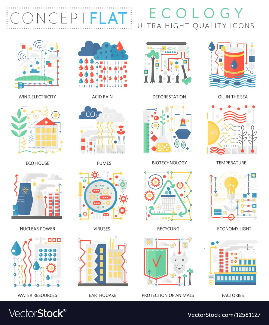Infographics mini concept green Ecology icons for