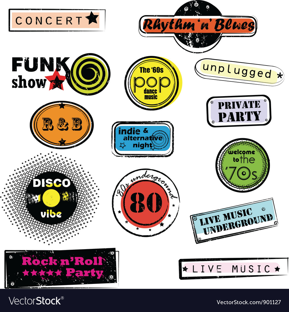 Retro music stamps