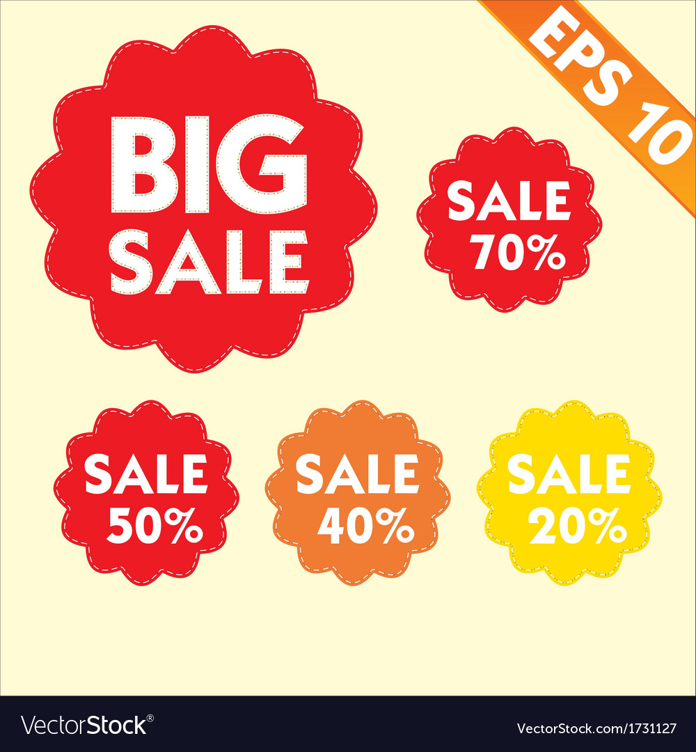 Sale percents tag with stitch style background vector image