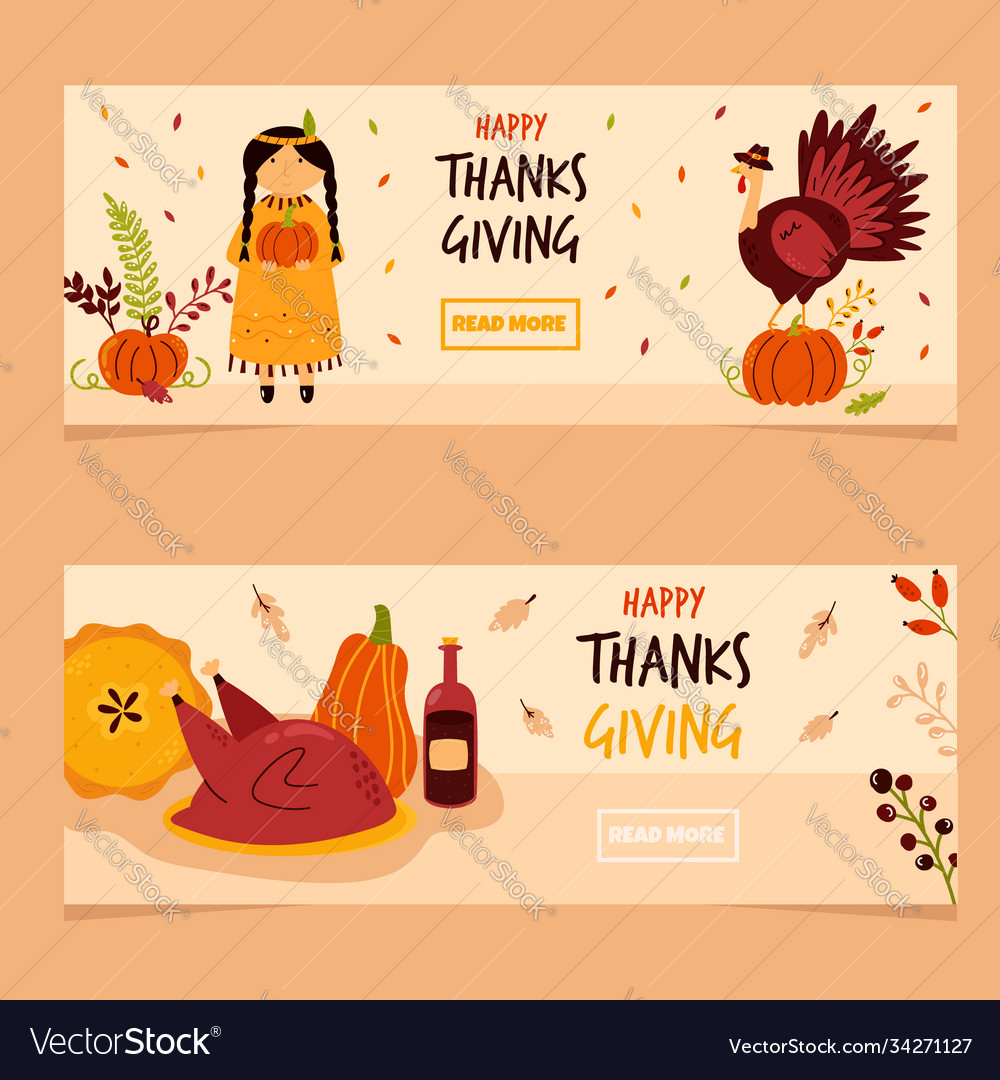 Set holiday banners for thanksgiving day