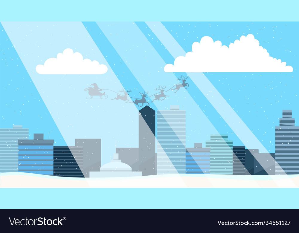 Snowy street urban winter landscape with