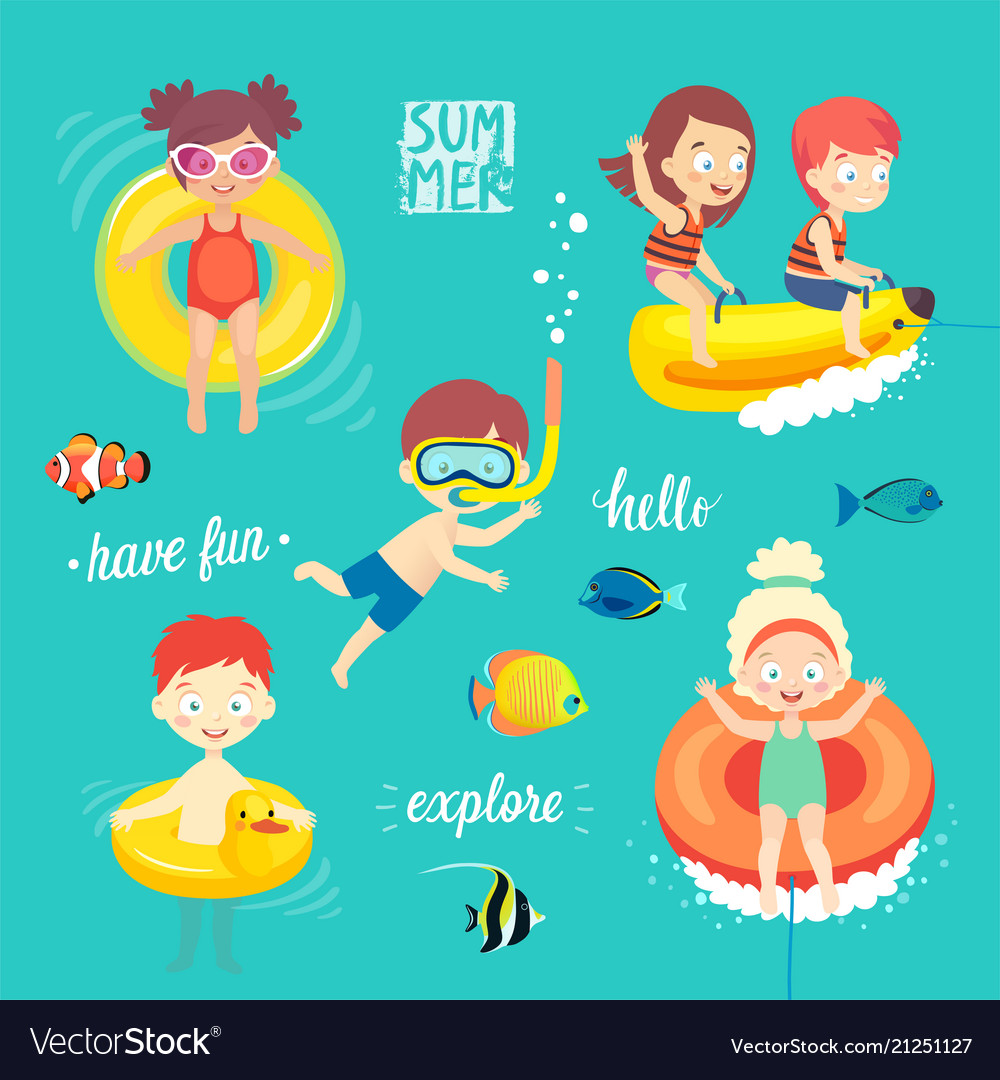 Summer kids set swimming diving playing and