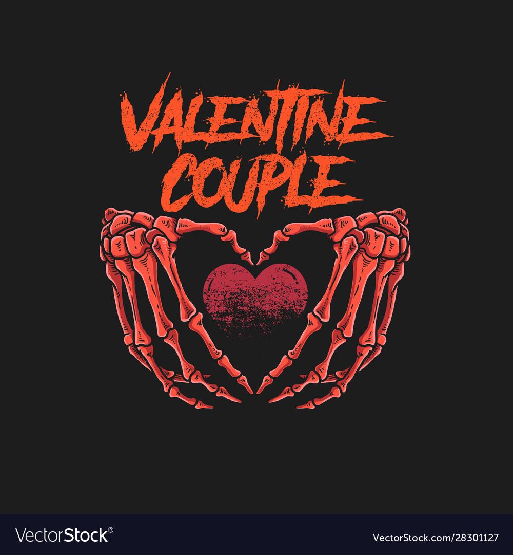 Valentine couple skeleton bone