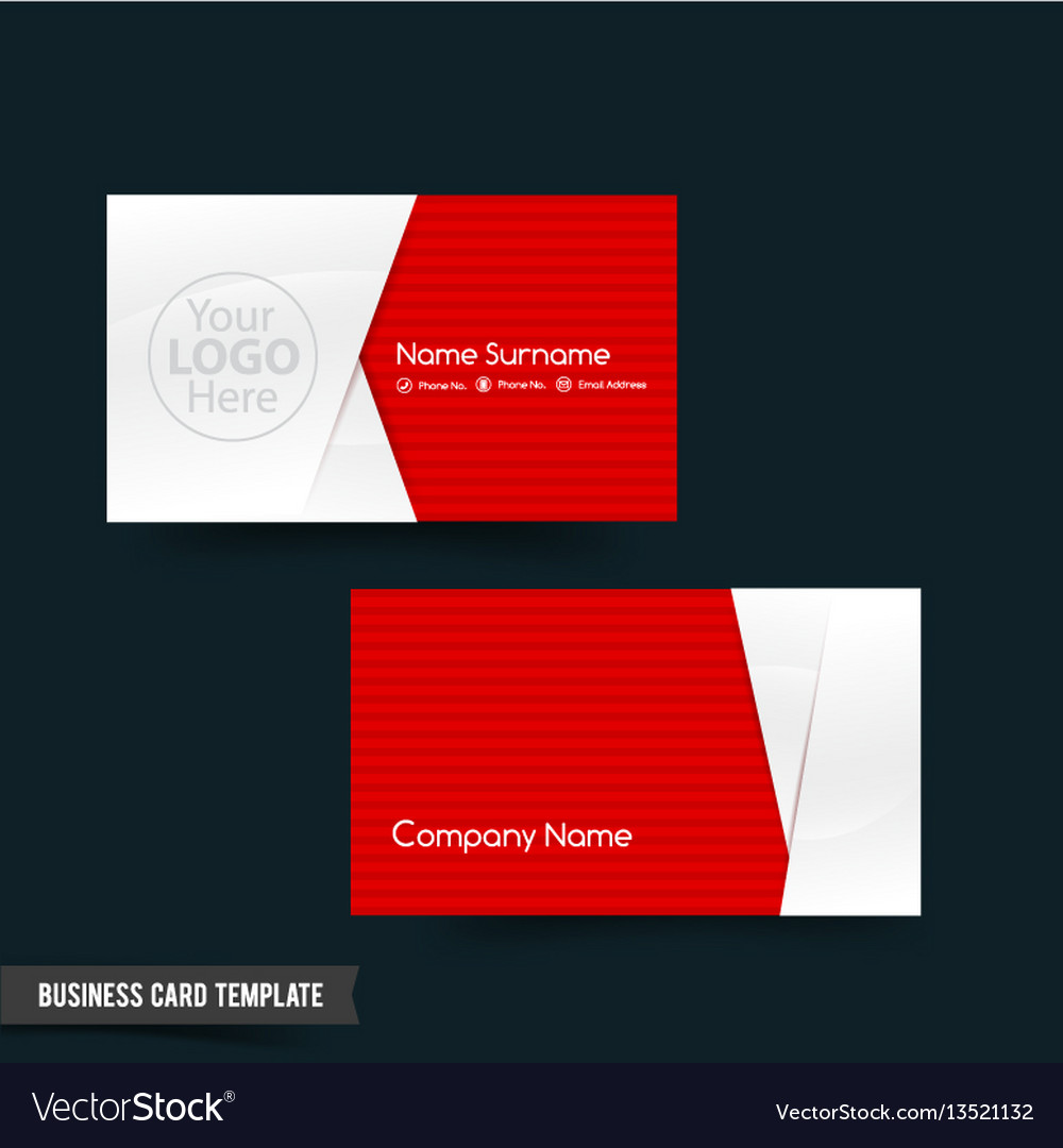 Business card template set 64 red and white basic
