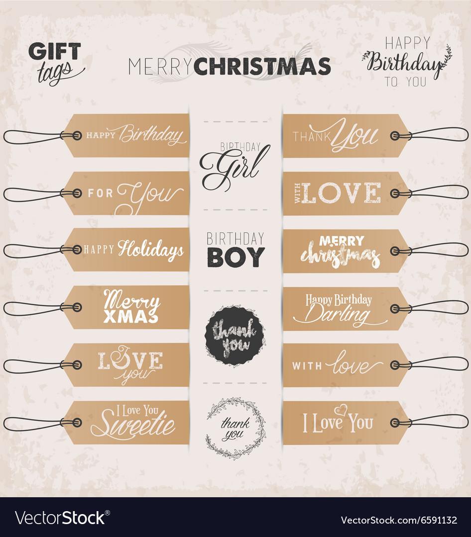 Calligraphic Christmas and Birthday Gift Tags vector image