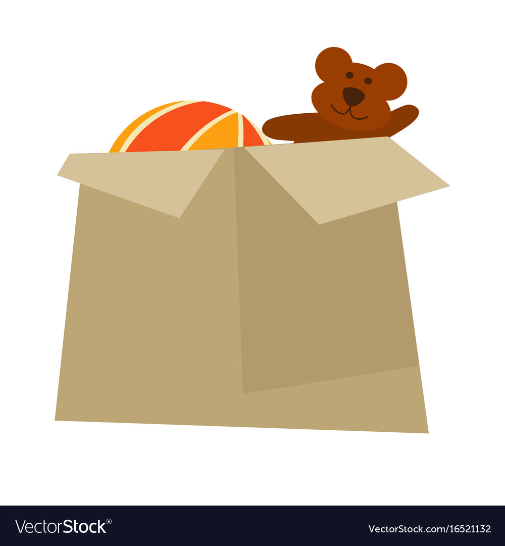 Cardboard box with childish toys isolated cartoon vector image