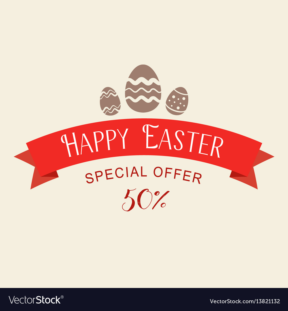 Easter sale special offer with red ribbon banner