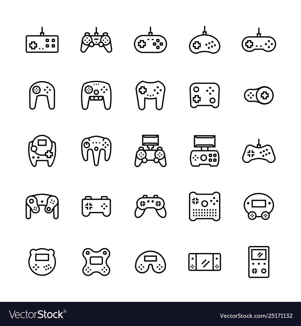 Gamepads icon set in thin line style symbols
