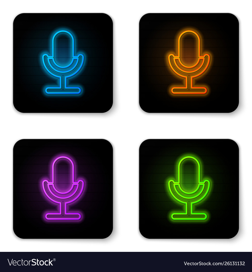 Glowing neon microphone icon isolated on white