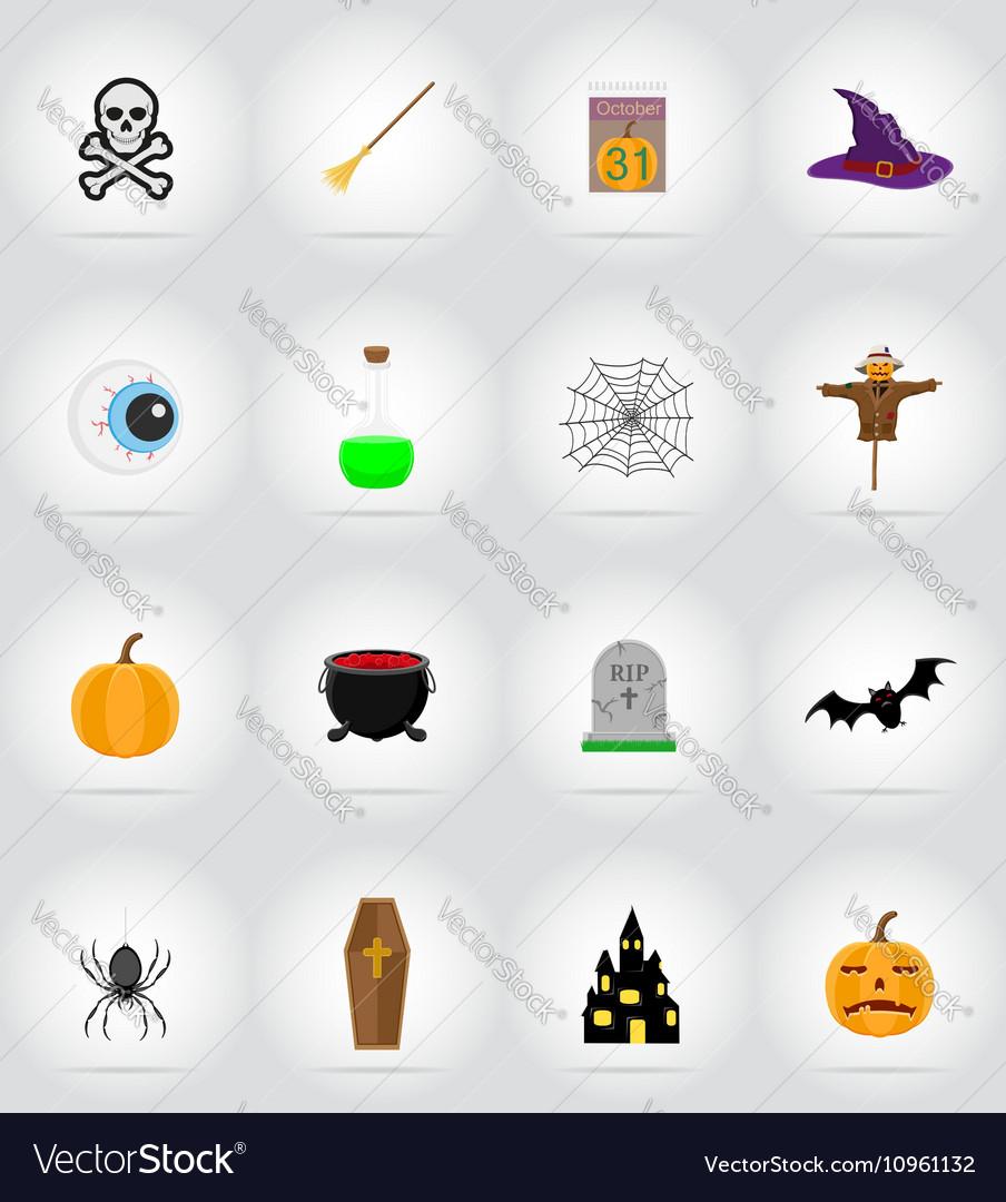 Halloween flat icons 17 vector image