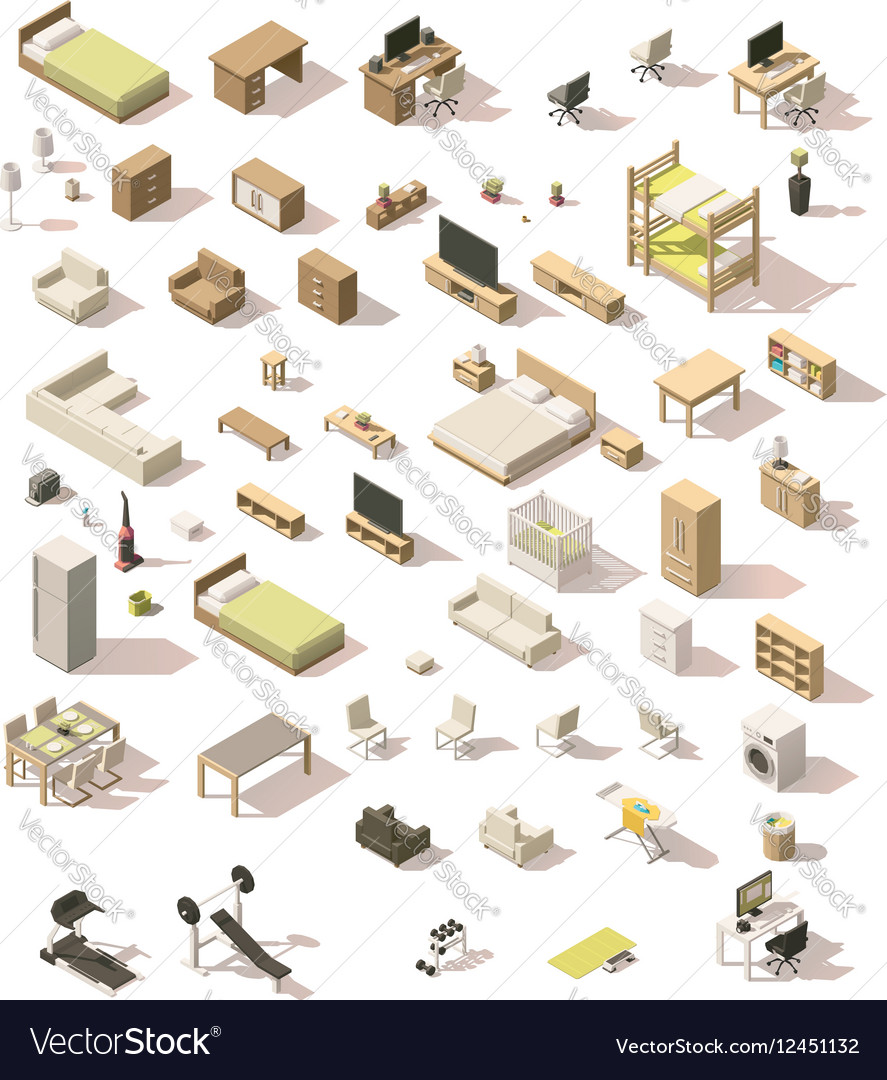 Isometric low poly domestic furniture set